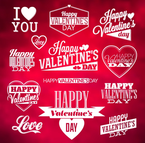 Valentine Day Wordart Logos With Labels Vector - Vector Label