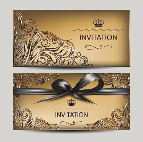 Vintage golden invitation cards with ribbon bow vector vector vintage golden invitation cards with ribbon bow vector stopboris Image collections