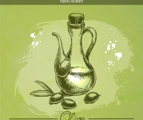 Vintage olive oil hand drawn vector 01