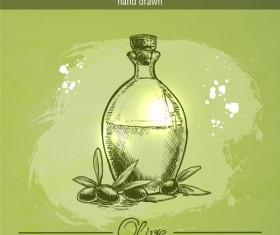 Vintage olive oil hand drawn vector 02