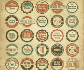 Vintage quality label with badges vector