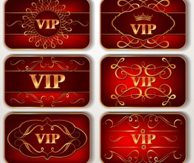 Vintage red Vip cards with floral pattern vector