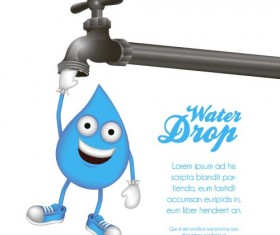 Water tap and water drop background vector 02