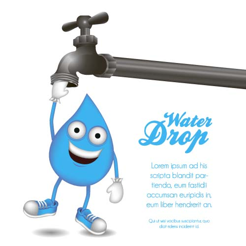 Water Tap And Water Drop Background Vector 02 Vector