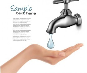 Water tap and water drop background vector 03