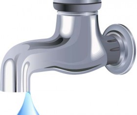 Water tap and water drop background vector 04
