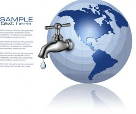 Water tap and water drop background vector 06
