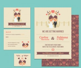 Wedding Invitation Card with heart pattern vector