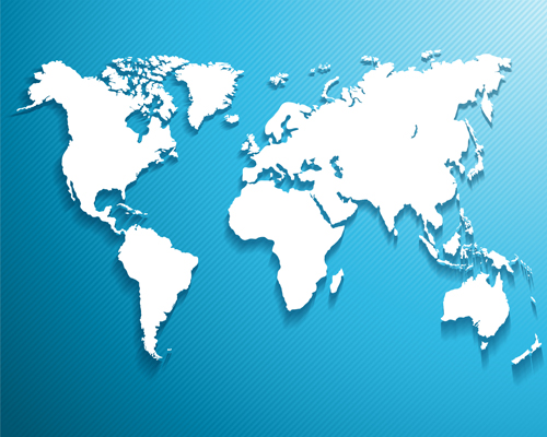White world map with blue background vector free download