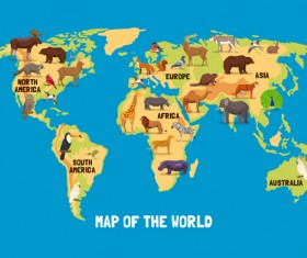 Wild animal with world maps vector 01