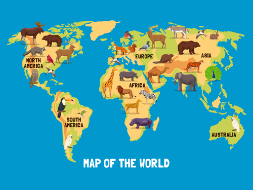Wild animal with world maps vector 01 Vector Animal Vector Maps free download