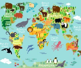 Wild animal with world maps vector 02