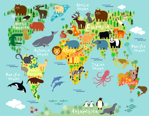 Wild animal with world maps vector 02 Vector Animal Vector Maps free download