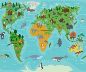 Wild animal with world maps vector 03
