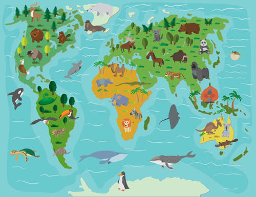 Wild animal with world maps vector 03 vector animal vector maps wild animal with world maps vector 03 gumiabroncs Image collections