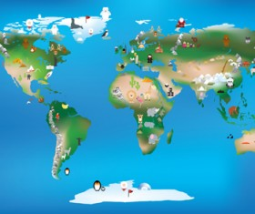 Wild animal with world maps vector 04