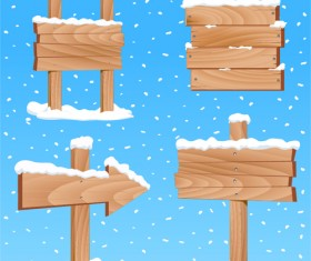 Winter wooden billboard vector material 01