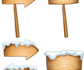 Winter wooden billboard vector material 02