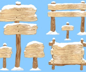 Winter wooden billboard vector material 03