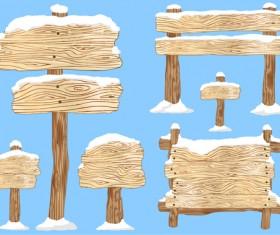 Winter wooden billboard vector material 03