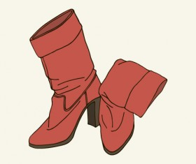 Woman boots hand drawn vector 01