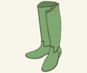 Woman boots hand drawn vector 02