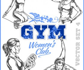 Women's fitness club poster vectors material 07