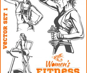 Women's fitness club poster vectors material 08