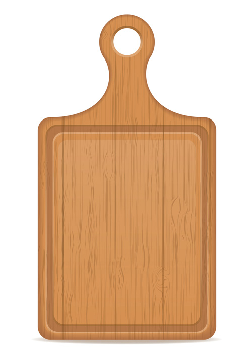 Wooden cutting board vector design set 04