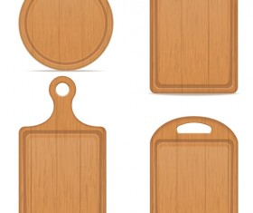 Wooden cutting board vector design set 05