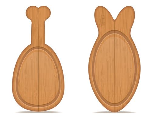 Wooden cutting board vector design set 13