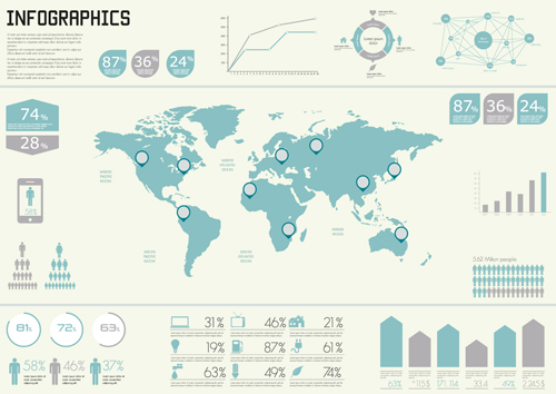 world map with infographics creative vector 01 vector