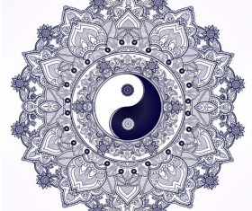 Yin and Yang with mandala patterns vector 02