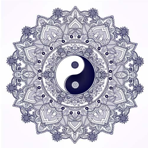 Yin and Yang with mandala patterns vector 02