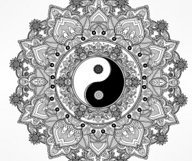 Yin and Yang with mandala patterns vector 06