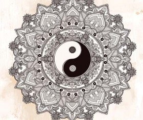 Yin and Yang with mandala patterns vector 08