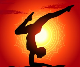 Yoga silhouetter with sunset background vectors 02