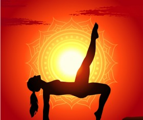 Yoga silhouetter with sunset background vectors 03