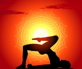 Yoga silhouetter with sunset background vectors 04