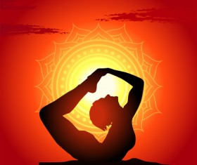 Yoga silhouetter with sunset background vectors 05