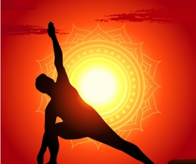 Yoga silhouetter with sunset background vectors 06
