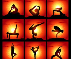 Yoga silhouetter with sunset background vectors 07