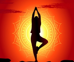 Yoga silhouetter with sunset background vectors 09