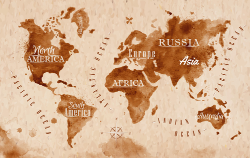 Brown world map grunge vector free download brown world map grunge vector gumiabroncs Gallery