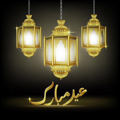 Lamp With Eid Mubarak Background Vector 01 Vector
