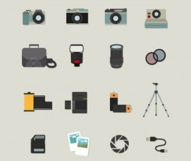 16 Kind photography element icons vector