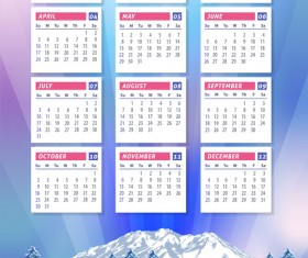 2016 calendar with winter landscape vector 02