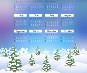 2016 calendar with winter landscape vector 03