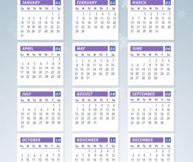 2016 calendar with winter landscape vector 04
