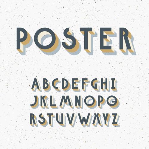3D Poster Alphabets Font Vector 01